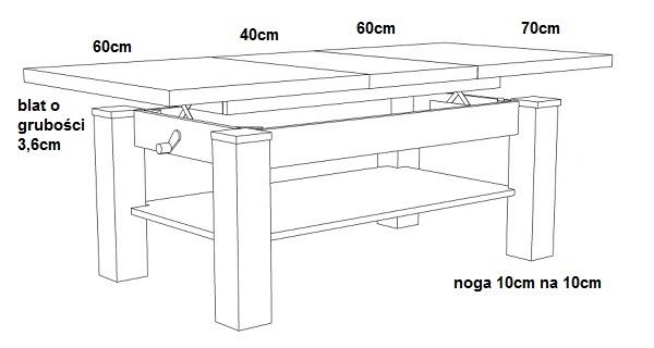 ławostół L39 Podnoszony Rozkładany Do 160cm