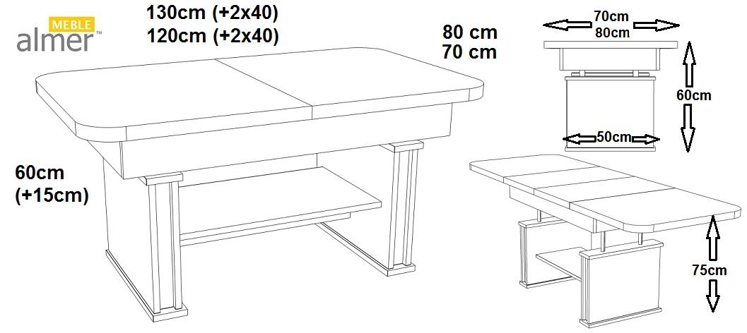 ławostół L15 Podnoszony Rozkładany Do 210cm