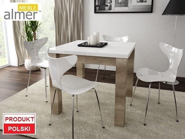 Stół S06 Blat Biały Połysk Rozkładany O 40cm Almer Meble Wysoki