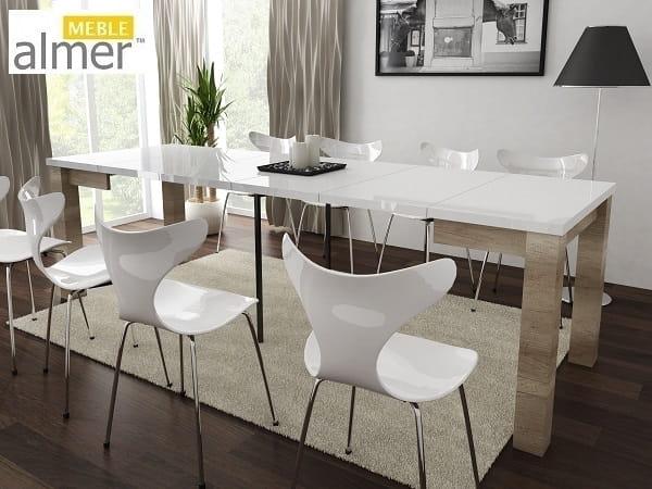 Stół S03 Blat Biały Połysk Rozkładany O 4x50cm Almer Meble Wysoki