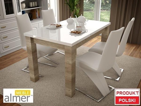 Stół S02 Blat Biały Połysk Rozkładany O 2x50cm Almer Meble Wysoki