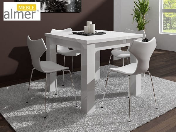 Stół S07 Biały Wysoki Połysk Rozkładany O 2x50cm Almer Meble Wysoki